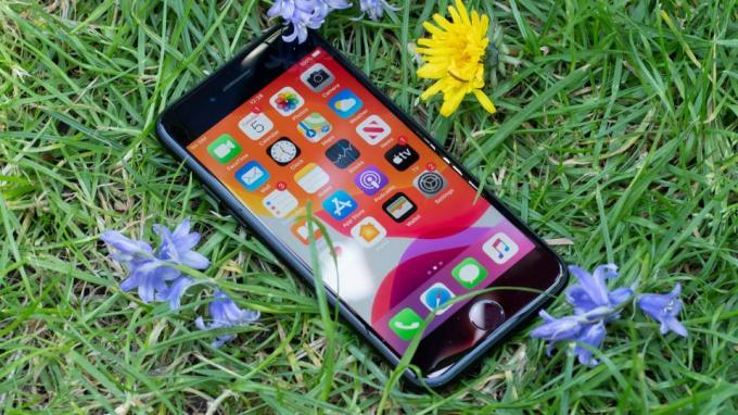 Apple iPhone SE (2020) met gras en bloemen